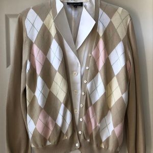 Brooks Brothers argyle cardigan sweater. Size L